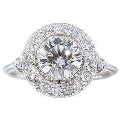 GIA 1.57 Carat Round Diamond Halo Engagement Wedding Platinum Ring
