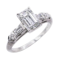 GIA 1.58 Carat Deco Emerald Cut Diamond Engagement Wedding Platinum Ring