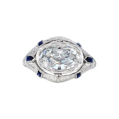 GIA 1.60 Carat Old Oval Diamond French Calibre Sapphire Engagement Platinum Ring