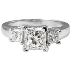 GIA 1.60 Carat Princess Diamond Three-Stone Engagement Wedding White Gold Ring