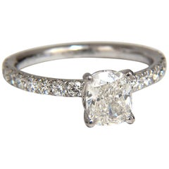 GIA 1.62 Carat Cushion Cut Diamond Ring 18 Karat H/VS