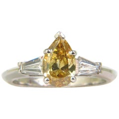 GIA 1.62 Carat Natural Fancy Yellow Diamond Ring Vivid and Clean