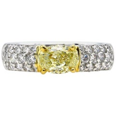 GIA 1.62 Carat Natural Fancy Yellow Oval Diamond Engagement Ring Pave Platinum