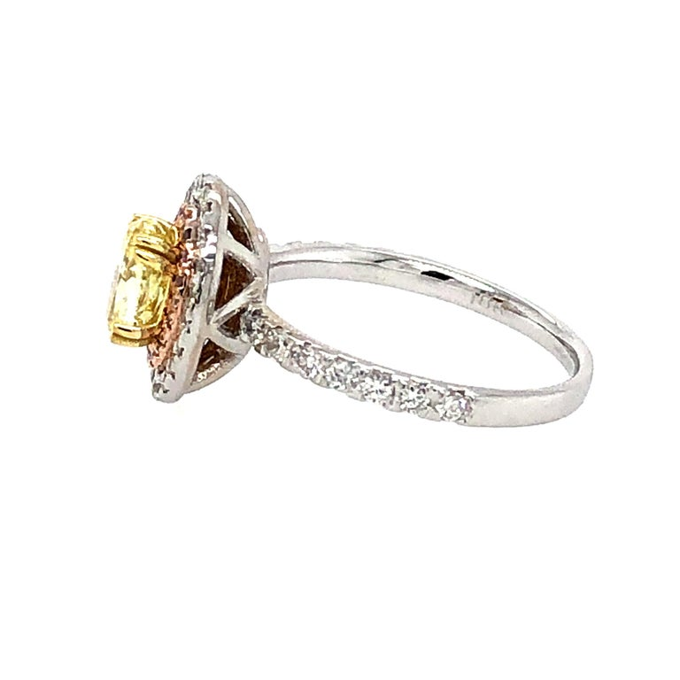 GIA 1.63 Carat Oval Fancy Intense Yellow and Pink Diamonds Ring 18 Karat Gold In New Condition For Sale In Miami, FL