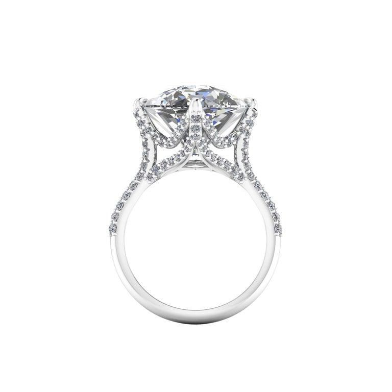 Art Nouveau GIA 16.37 Carat Oval Diamond 0.78 Carat White Diamonds Platinum 950 For Sale