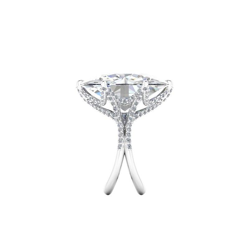 Oval Cut GIA 16.37 Carat Oval Diamond 0.78 Carat White Diamonds Platinum 950 For Sale