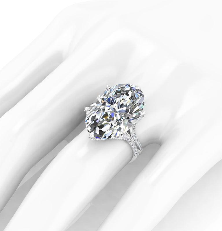 GIA 16.37 Carat Oval Diamond 0.78 Carat White Diamonds Platinum 950 In New Condition For Sale In Lake Peekskill, NY