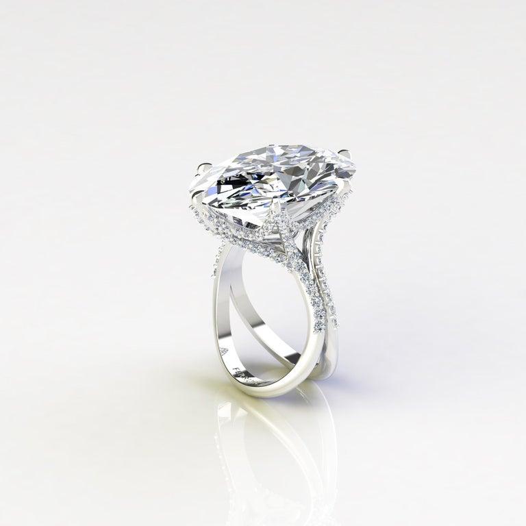 Women's GIA 16.37 Carat Oval Diamond 0.78 Carat White Diamonds Platinum 950 For Sale