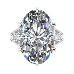 GIA 16.37 Carat Oval Diamond 0.78 Carat White Diamonds Platinum 950