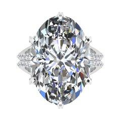 GIA 16.37 Carat Oval Diamond 0.78 Carat White Diamonds Platinum 950