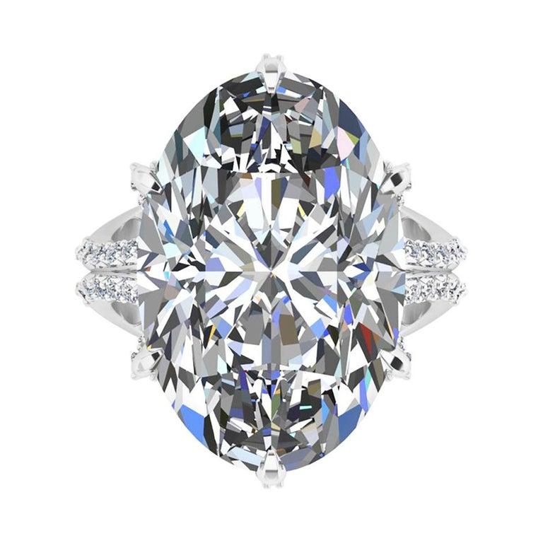 GIA 16.37 Carat Oval Diamond 0.78 Carat White Diamonds Platinum 950 For Sale