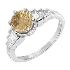 GIA 1.64 Carat Natural Yellow Brown Diamond Platinum Engagement Ring
