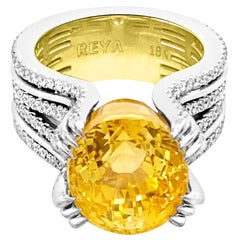 GIA 16.84ct Natural No Heat Ceylon Yellow Sapphire 18k White & Yellow Gold Ring