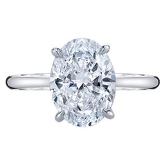 GIA 1.70 Carat Certified D SI1 Oval Cut Diamond Natural Engagement Ring