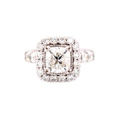 GIA 1.71 Carat Total Weight Fire Cushion Diamond Engagement Ring