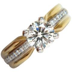 GIA 1.76 Carat J/SI Round Brilliant Diamond Bead Set Platinum and 18 Karat Ring