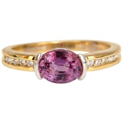 GIA 1.78 Carat Natural No Heat Bright Pink Sapphire Diamond Ring 18 Karat