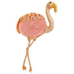 GIA 178 Carat Natural Rose Quartz Artisan Sexy Flamingo Brooch Pin 18 Karat
