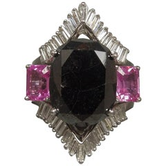 GIA 17.80 Carat Black Diamond and Pink Sapphire Ring