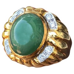 GIA 18 Karat Gold Natural Untreated Jadeite Jade A Diamond Ring 9.54 Carat 15g