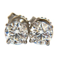 GIA 1.80 Carat Natural Round Brilliant Diamond Stud Earrings Platinum Ideal