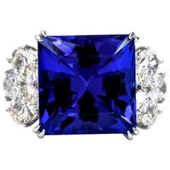 GIA 18.01 Carat Tanzanite and 3.37 Carat Diamond Platinum Cluster Cocktail Ring