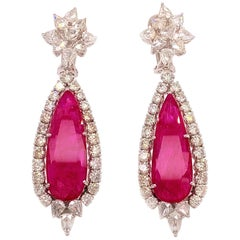 GIA 18.05 Carat Ruby Cocktail Earrings