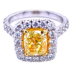 GIA 1.81 Carat Fancy Intense Yellow French Pave Set 18 Karat Ring with Halo