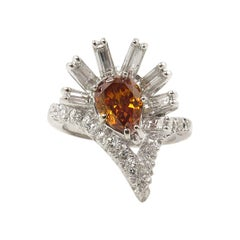 GIA 1.81 Carat Fancy Orange Pear Diamond Cluster Anniversary White Gold Ring