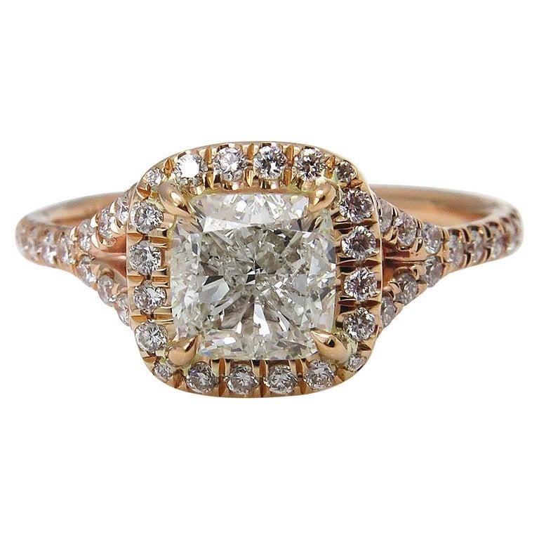 GIA 1.84 Carat Cushion Diamond Engagement Wedding Rose Gold Halo Ring For Sale