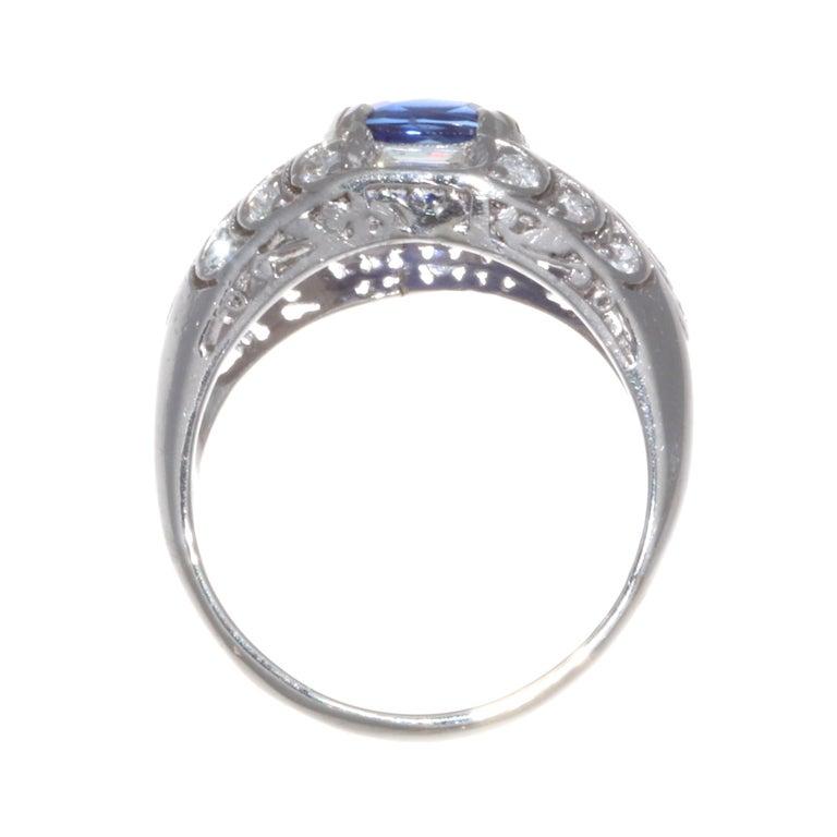 Cushion Cut GIA 1.84 Carat Madagascar Heated Sapphire Diamond Platinum Ring For Sale