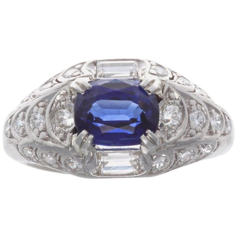 GIA 1.84 Carat Madagascar Heated Sapphire Diamond Platinum Ring For Sale