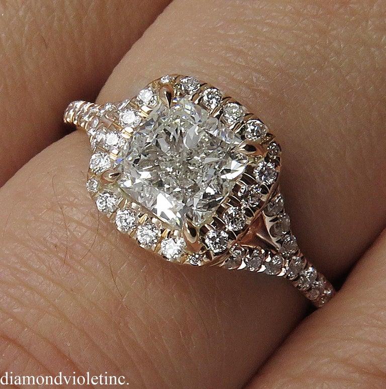 GIA 1.84 Carat Cushion Diamond Engagement Wedding Rose Gold Halo Ring For Sale 5
