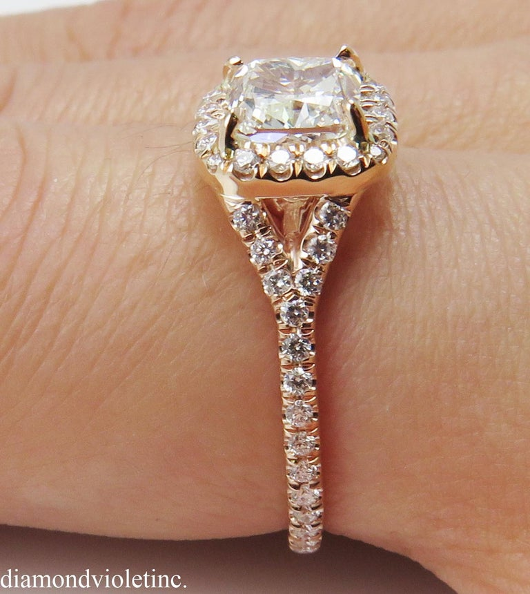 GIA 1.84 Carat Cushion Diamond Engagement Wedding Rose Gold Halo Ring For Sale 7
