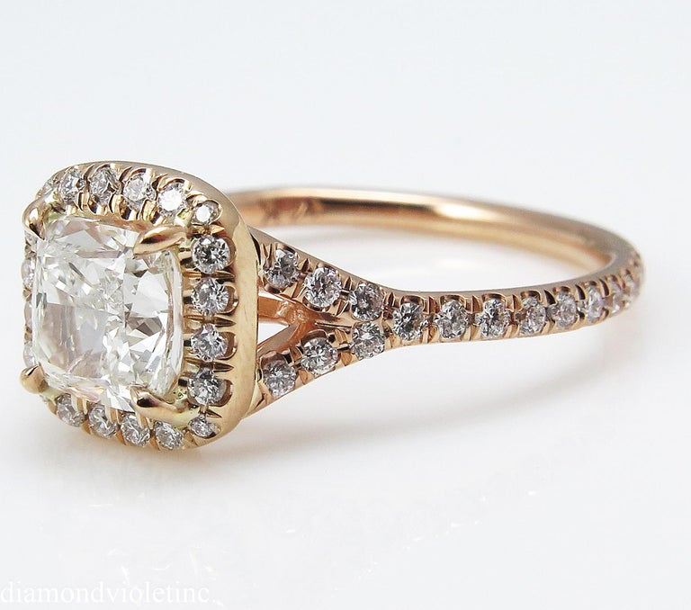 A Beautiful and Elegant GIA Certified Cushion Diamond Ring with 1.00ct Center Diamond in J color SI1 clarity (Near COLORLESS and eye CLEAR). There is nothing more Sparkly and Brilliant in Nature! The measurements of the Center Stone are