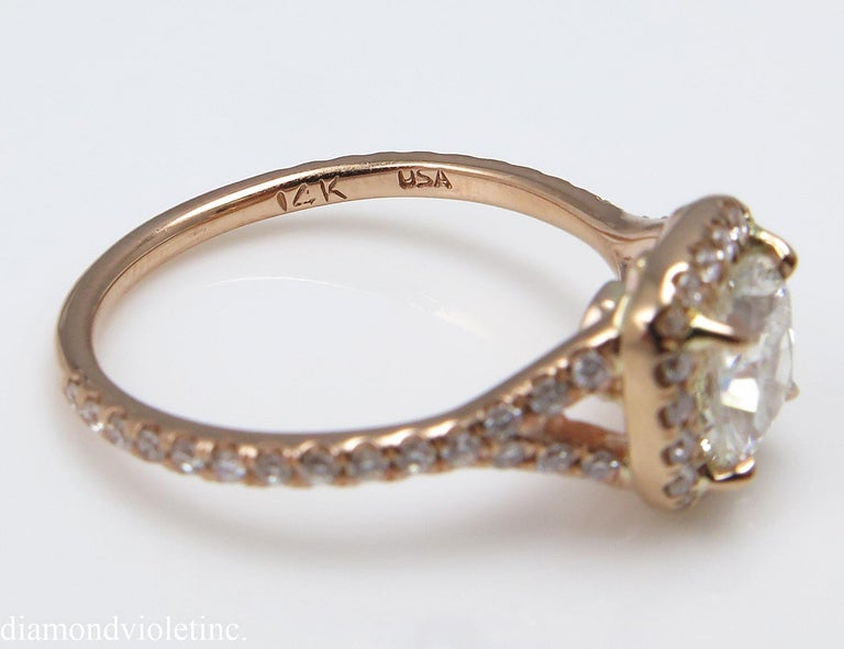 Cushion Cut GIA 1.84 Carat Cushion Diamond Engagement Wedding Rose Gold Halo Ring For Sale