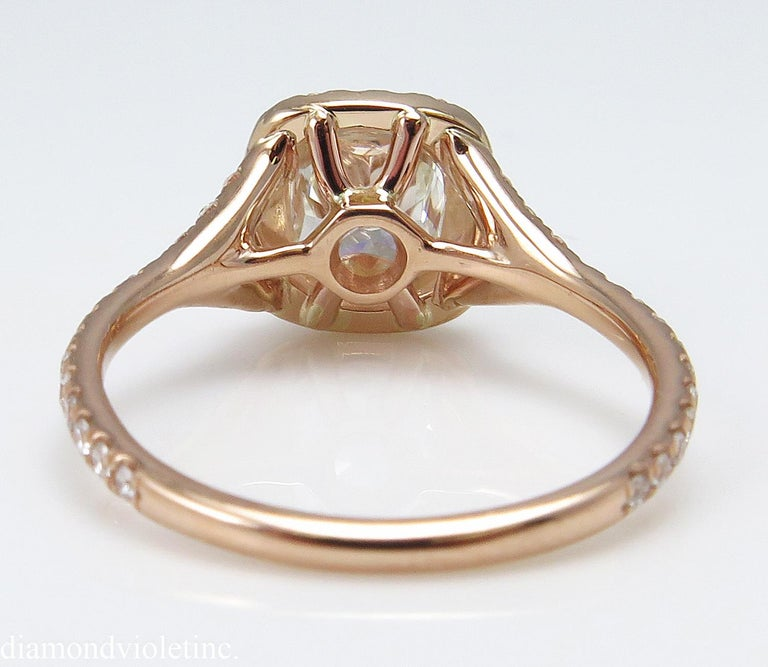 GIA 1.84 Carat Cushion Diamond Engagement Wedding Rose Gold Halo Ring In Good Condition For Sale In New York, NY