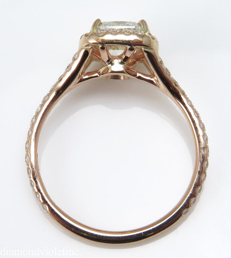 Women's GIA 1.84 Carat Cushion Diamond Engagement Wedding Rose Gold Halo Ring For Sale