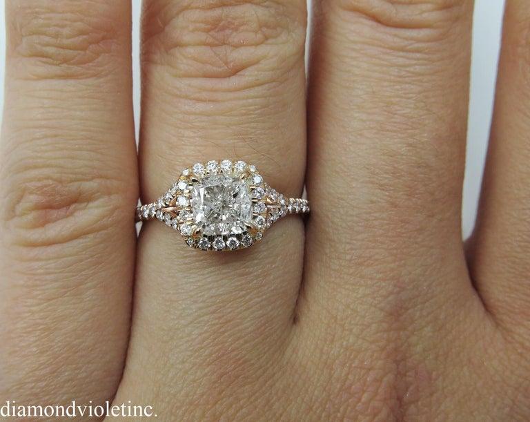 GIA 1.84 Carat Cushion Diamond Engagement Wedding Rose Gold Halo Ring For Sale 1