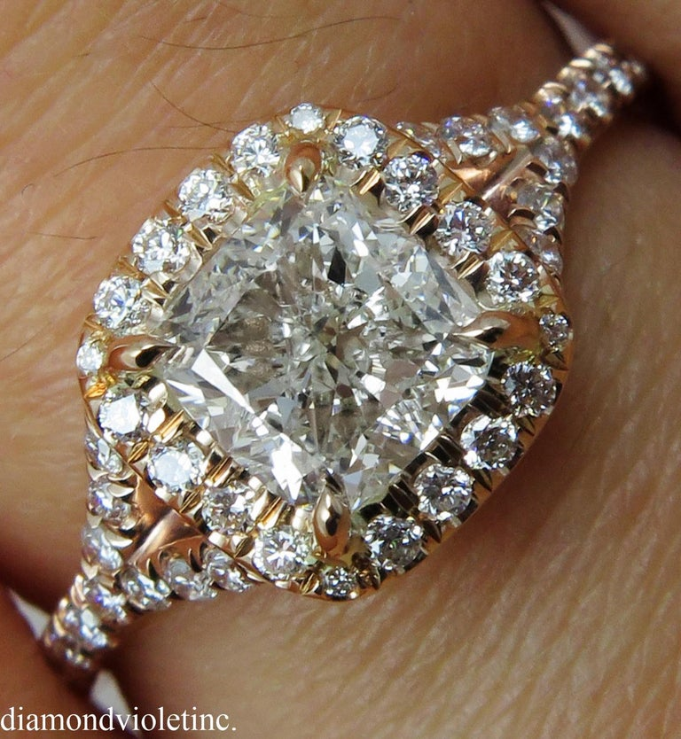 GIA 1.84 Carat Cushion Diamond Engagement Wedding Rose Gold Halo Ring For Sale 2