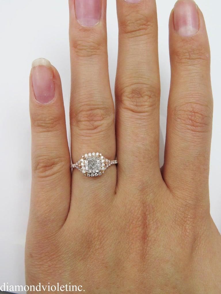 GIA 1.84 Carat Cushion Diamond Engagement Wedding Rose Gold Halo Ring For Sale 3