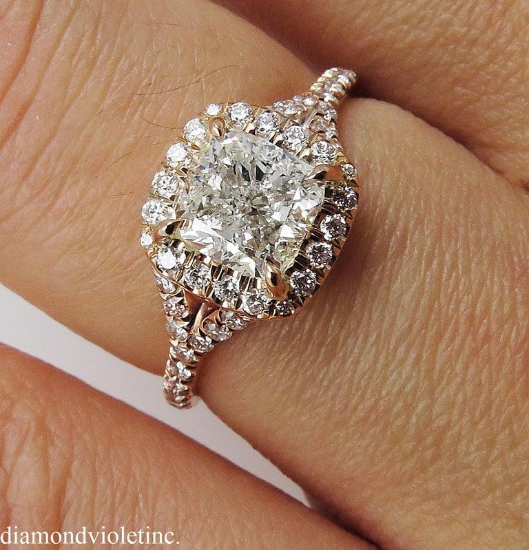 GIA 1.84 Carat Cushion Diamond Engagement Wedding Rose Gold Halo Ring For Sale 4