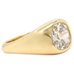 GIA 1.86 Carat Cushion Cut Diamond 18 Karat Gold Gypsy Ring