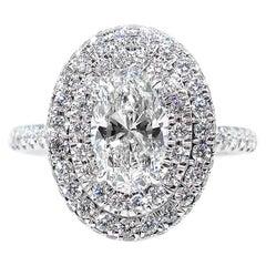 GIA 1.86 Carat Oval Cut Diamond Halo 14 Karat White Gold Estate Vintage Ring
