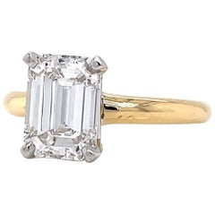 GIA 1.87 Carat Emerald Cut Diamond 18 Karat Gold Solitaire Engagement Ring