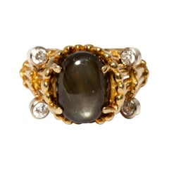 GIA 18K Gold, Black Star Sapphire and Diamond Ring