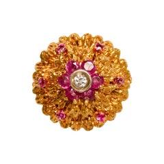 GIA 18k Gold, Diamond and Ruby Italian Ring