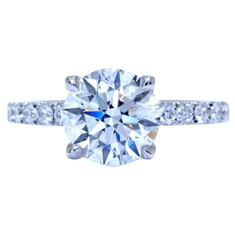 GIA 1.90 Carat Certified Triple Excellent Diamond Round Brilliant Cut Ring For Sale