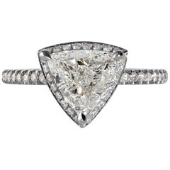 GIA 1.93 Carat Trillion Diamond Hidden Halo Pave Platinum Engagement Ring