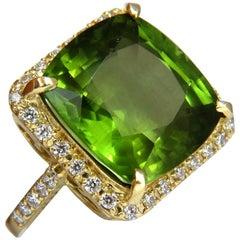 GIA 19.30 Carat Natural Vivid Green Cushion Peridot Diamond Ring Halo 18 Karat